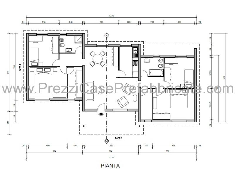 Free with progetto casa 120 mq for Piani di un piano in stile ranch