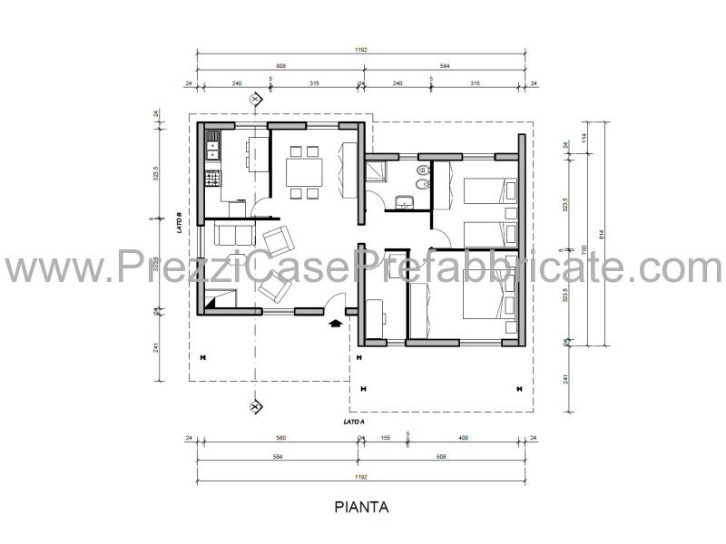 Casa prefabbricata mod rc80 2vl for Planimetrie 1 livello