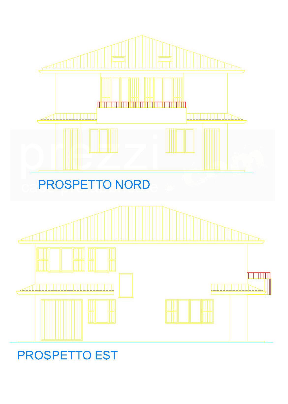 casa-S-Prospetti-nord-est-WM Case prefabbricate legno Rovereto sulla Secchia, Modena