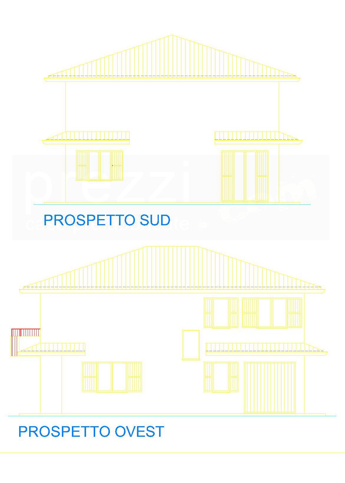 casa-S-Prospetti-sud-ovest-WM Case prefabbricate legno Rovereto sulla Secchia, Modena
